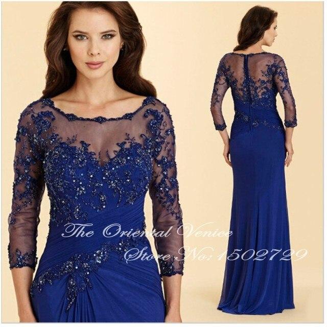 Azul real de La Gasa Vestidos de Encaje Apliques de Perlas Madre De el Bide Mangas Largas Vestidos de Noche Vestidos De Madrina