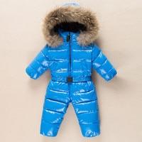 Baby Outerwear Newborn Winter Romper Boys Parka Girls Snowsuit Duck Down Jumpsuit Infant Coats Fur Collar Hoodie Kids Clothes