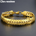 Davieslee Men's Bracelet Gold Filled Curb Cuban Link Chain Gift Party Jewelry for Men 11mm 21.7cm DLGB35