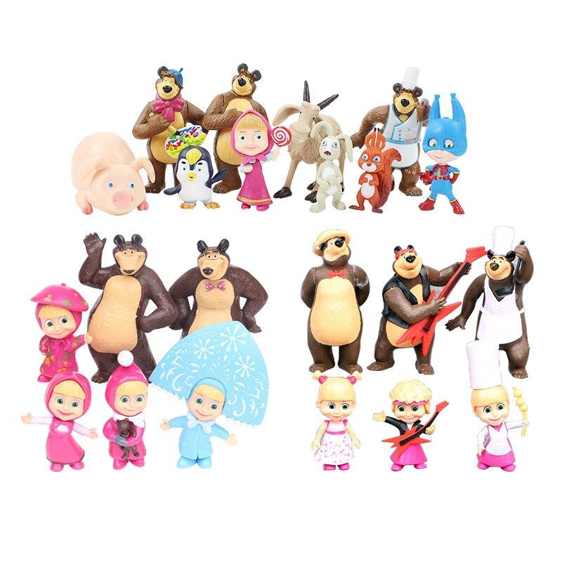 5-10 cm der Bär Maler Schnee Maiden mit teddy Mädchen Masha Action Figure PVC Abbildung Modell Spielzeug Puppen