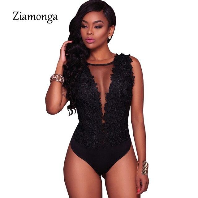Ziamonga S-XXL Sexy de encaje negro traje de las mujeres de malla de monos mameluco sin espalda bordado señoras cuerpo Dentelle Shorts Mujer