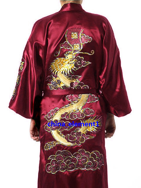 Borgonha Mens Kimono Robe Bordado Vestido de Banho Roupão de Seda Falso Camisola Pijamas Hombre Pijama Tamanho S M L XL XXL XXXL