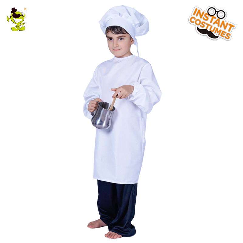 Cute Boy Cook Costume Photo Photography Prop Newborn Infant Hat Apron Chef Clothes Funning Booth Props for Kids White