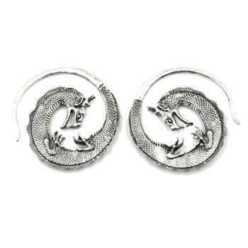 Color plata de latón dragón oído percha de peso espiral cono enchufe expansor de Piercing de oreja pendiente de aro