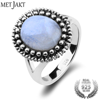 MetJakt Natural Gem Moonstone Rings Solid 925 Sterling Silver Vintage Ring for Women's Fine Jewelry (Size 6 7 8)