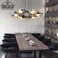 Современная потолочная лампа янтарного цвета, кухонный светодиодный подвесное светлое стекло приглушенный свет, железный большой магазин,