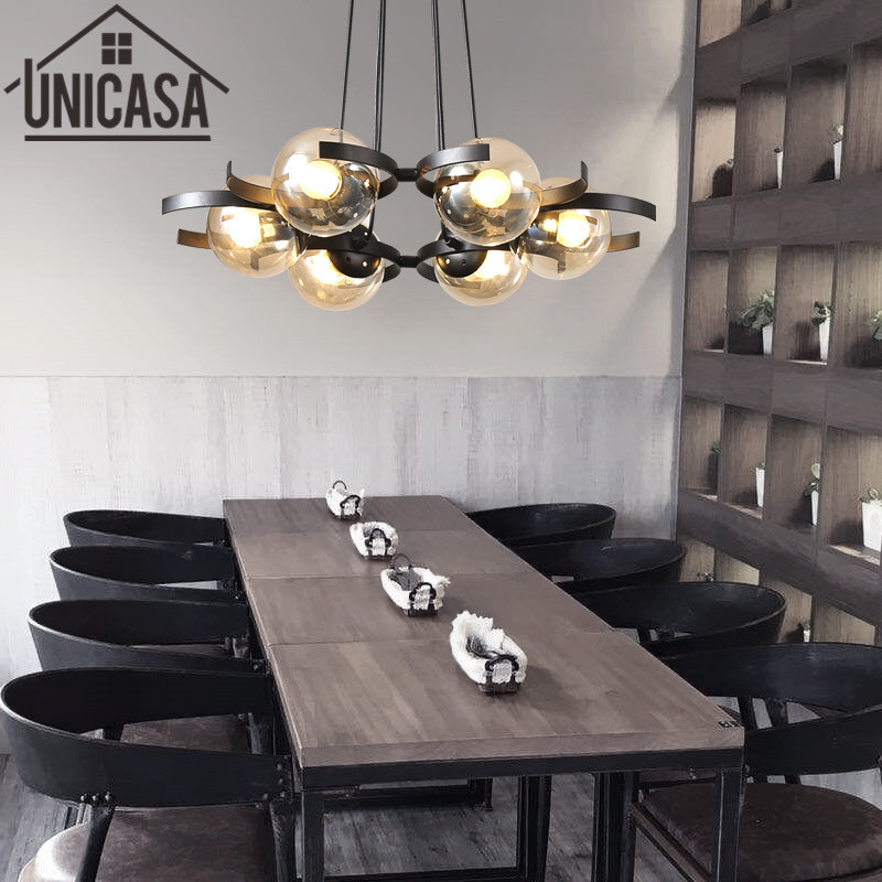 Modern Ceiling Lamp Amber Kitchen LED Pendant Light Glass Shade Lights Iron Large shop Art decoration Office Bar Lighting glass shade modern pendant lights vintage industrial kitchen island lighting office hotel shop antique led pendant ceiling lamp