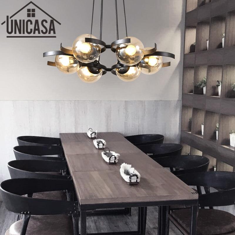 Moderne plafonnier ambre cuisine pendentif LED lumière verre ombre lumières fer grand magasin Art décoration bureau Bar éclairage