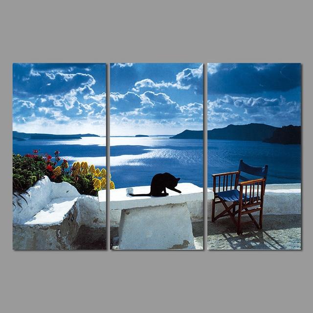 Art nature morte paysage grec mer salon décoration bleu bord de mer ...