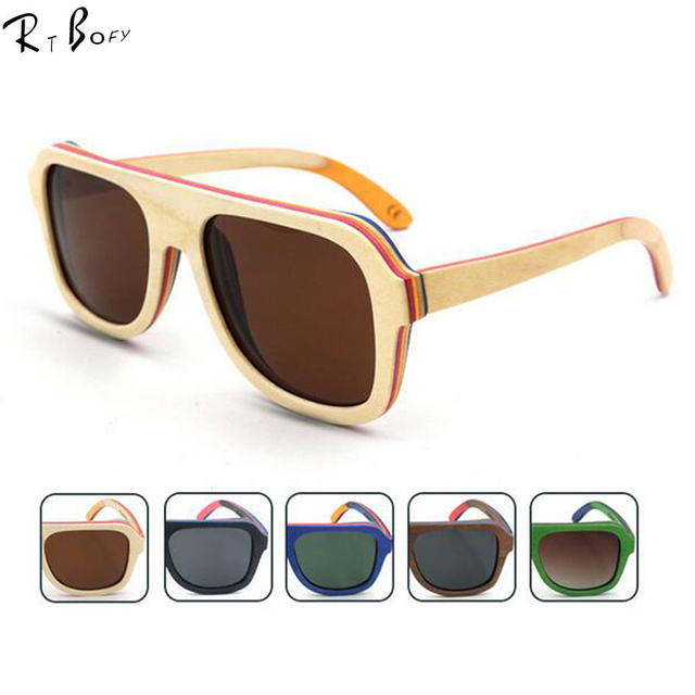 RTBOFY 2016 New fashion Products Men Women Glass Bamboo Sunglasses au Retro Vintage Wood Lens Wooden Frame Handmade. RB02