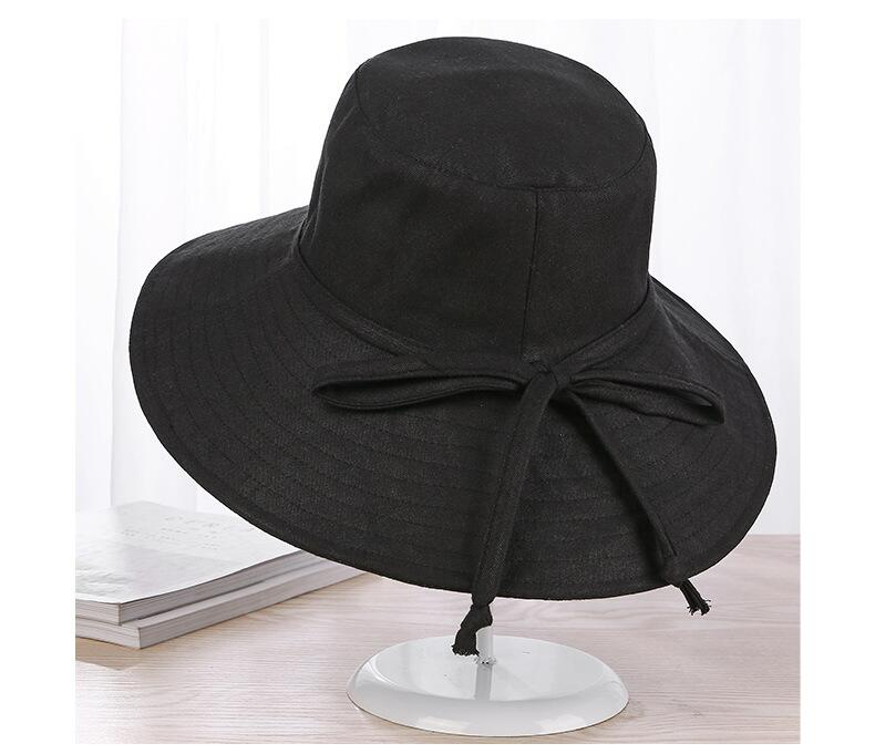 Spring Summer Wide Brim Hats Casual Cap Foldable Sun Beach Hats Autumn Visors Anti UV Women 39 s hat Cotton Linen in Women 39 s Sun Hats from Apparel Accessories