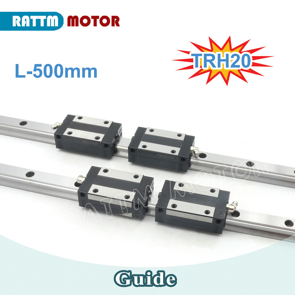 2 sets High Quality CNC 20mm Square Linear Guide Rail TRH20 500mm & 4 x TRH20B Slider Block for CNC Router Milling 1 5kw 2 2kw cnc 6090 router engraving machine offline dsp controller system cnc milling machine linear guide rail trh20