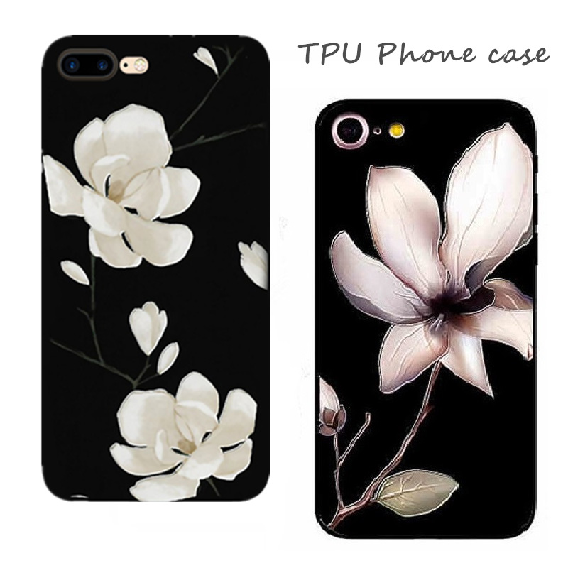 New Fashion 3D White Flower Paint Phone Case For iPhone 6 Vintage Soft TPU Back Cover Cases Coque For iPhone6 X 7 8 6s Plus in Half wrapped Cases from Cellphones Telecommunications