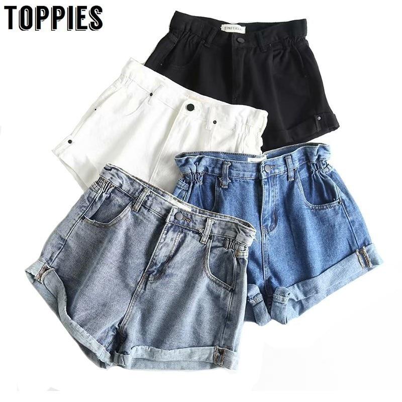 Summer White Black Crimping Denim   Shorts   High Waist Hot Jean   Shorts   Solid Color Slim Streetwear Korean 2019 Women