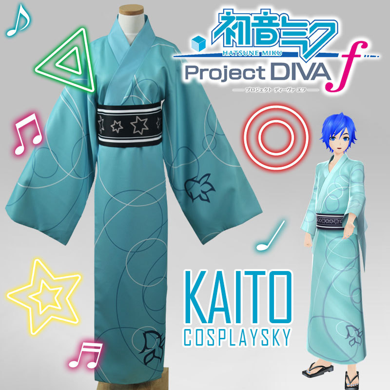 Diva VOCALOID Мику Хацунэ проект кимоно юката Kaito Косплэй костюм