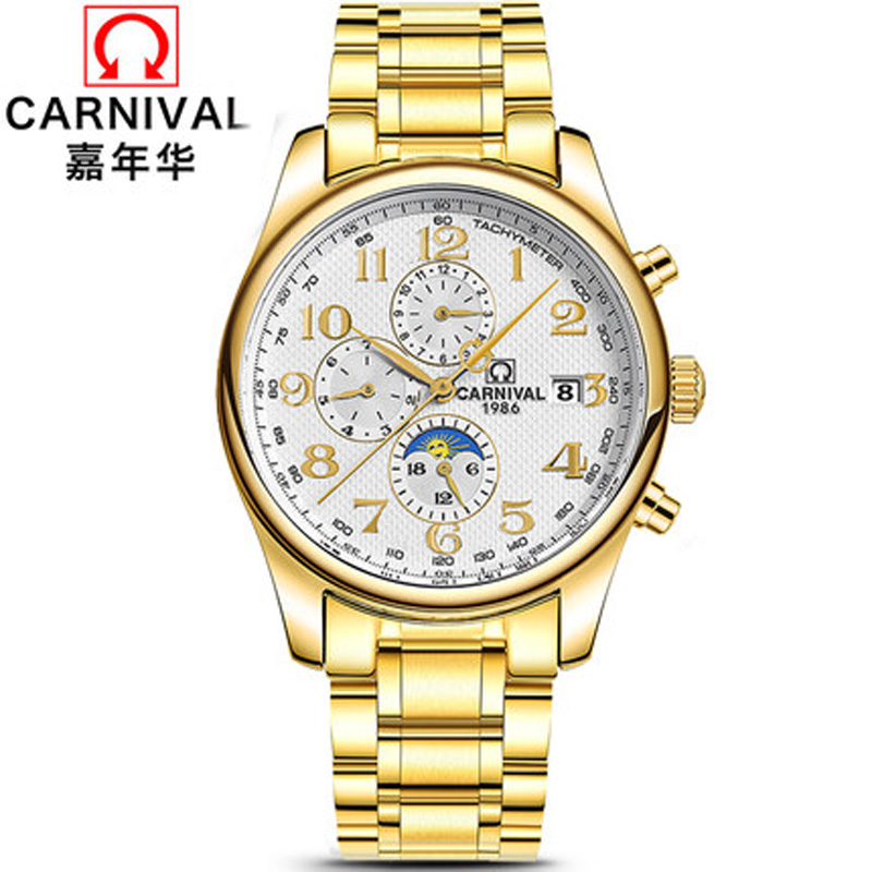 New Carnival Luxury Brand Watches Men Automatic Mechanical Men Watch Multi-function relogio Moon Phase Tachymeter Clock C0702-13New Carnival Luxury Brand Watches Men Automatic Mechanical Men Watch Multi-function relogio Moon Phase Tachymeter Clock C0702-13