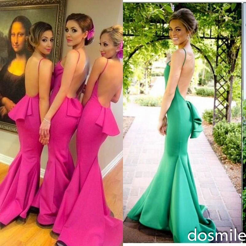 Y Long Bridesmaid Dresses Green Fuschia Yellow 2016 Junior Wedding Party Gowns Backless Satin Formal In From