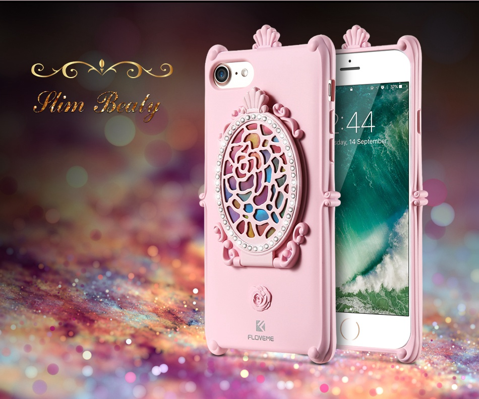 Makeup Mirror Case For iPhone 7 6 6S Plus Cases Glitter Rhinestone Kickstand Cover  (3)