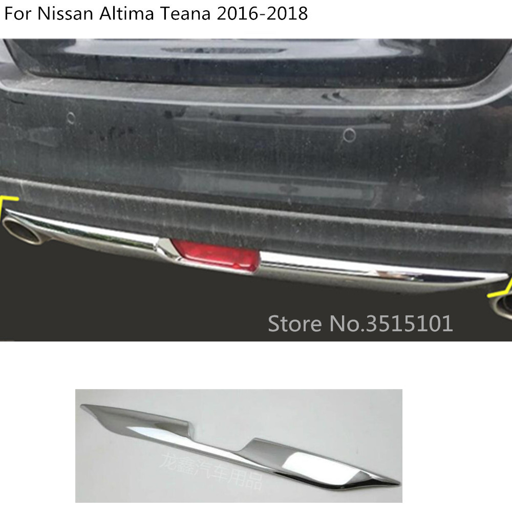 car Styling body cover protection Bumper ABS Chrome trim rear back tail bottom 1pcs For Nissan Altima Teana 2016 2017 2018 for nissan teana altima 2013 2014 2015 abs chrome front bottom grill cover grilles trim cover car styling accessories