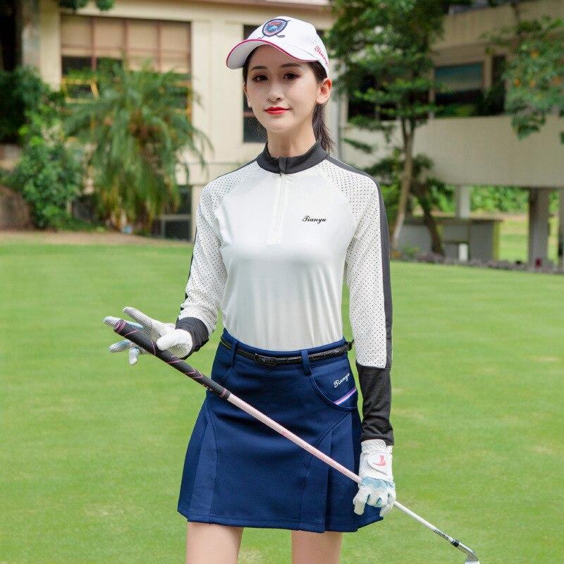 Femmes respirant Golf chemises maille à manches longues séchage rapide entraînement chemises dames demi haut à fermeture éclair tailles S-XXL D0694