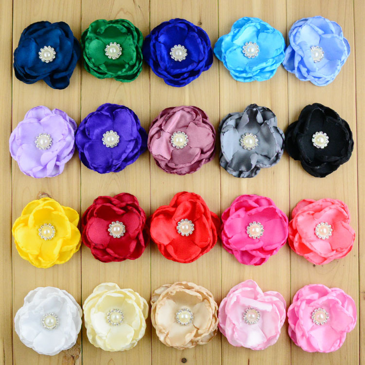 500pcs lot 3 54 Inch Summer Style 4 layers Shabby Flower With Pearl Centre For Girls