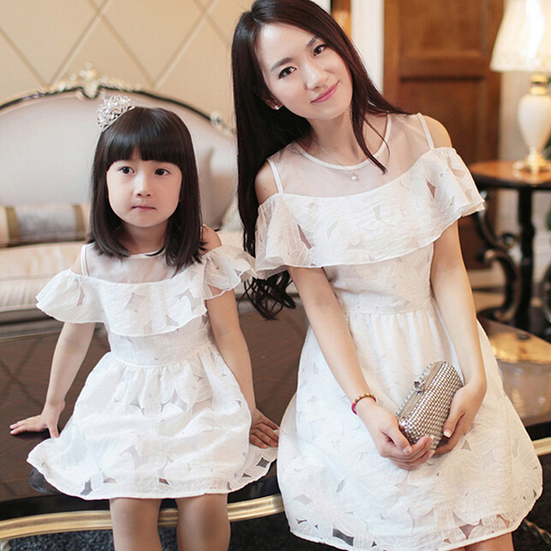 New Fashion Mom And Daughter Dress Summer Style Family Clothing Off The Shoulder Short-sleeve Matching Mother Daughter Clothes 2017 summer children clothing mother and daughter clothes xl xxl lady women infant kids mom girls family matching casual pajamas