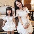 New fashion clothing estilo família mãe e filha vestido de verão fora do ombro curto-luva matching roupas filha da mãe