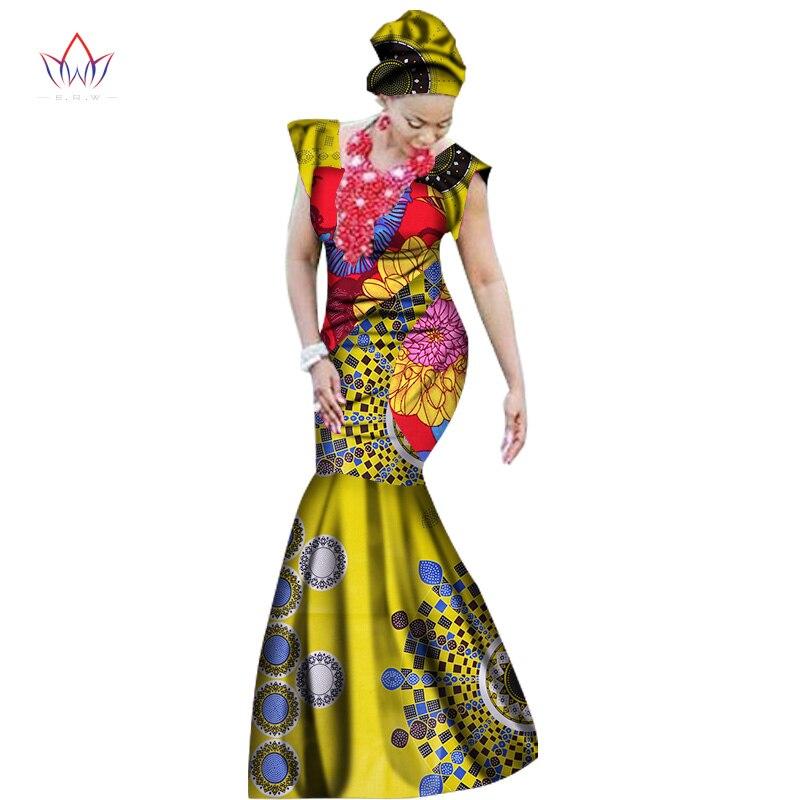 2019 sommarafrikanska klänningar för kvinnor dashiki kvinnor afrikansk print ankel-längd lång del klänning plus storlek naturlig 6xl WY1569