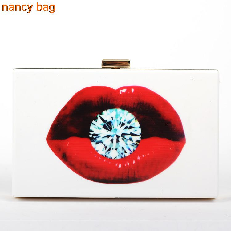 ФОТО hot sale Womens Bags Designer Rosy Lips Diamond poker Clutch Handbags White Acrylic Clutch Ladys Bag Purse messenger bag