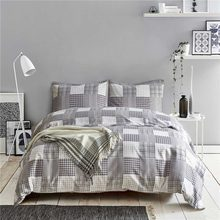 Home bedding Sets 3pcs Nordic Grey Plaid Bed Linen Pillowcase+Duvet Cover Set Fashion Bird Bedclothes US Size Quilt Cover(China)