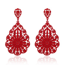 Luxury Women Lady Vintage Hollow Floral Crystal Rhinestone Dangle Earrings brinco preto joias sobretudo feminino Jewelry Party