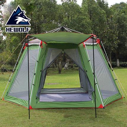 Hewolf tentes en plein air 3-4 personnes 5-8 personnes camping tentes camping équipement plage crème solaire barraca gazebo tente