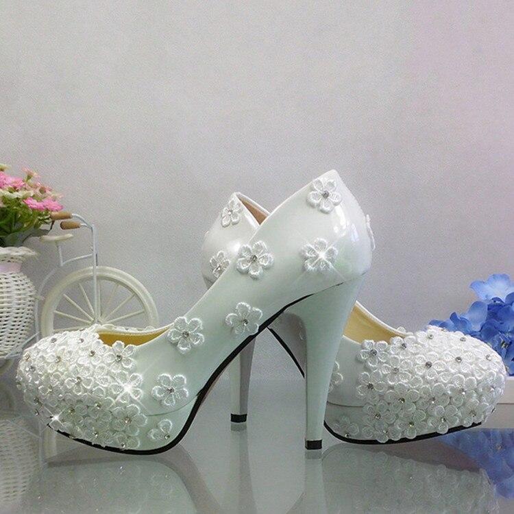 Flower rhinestone wedding shoes white ultra high heels lace crystal bride and bridesmaids wedding dress formal