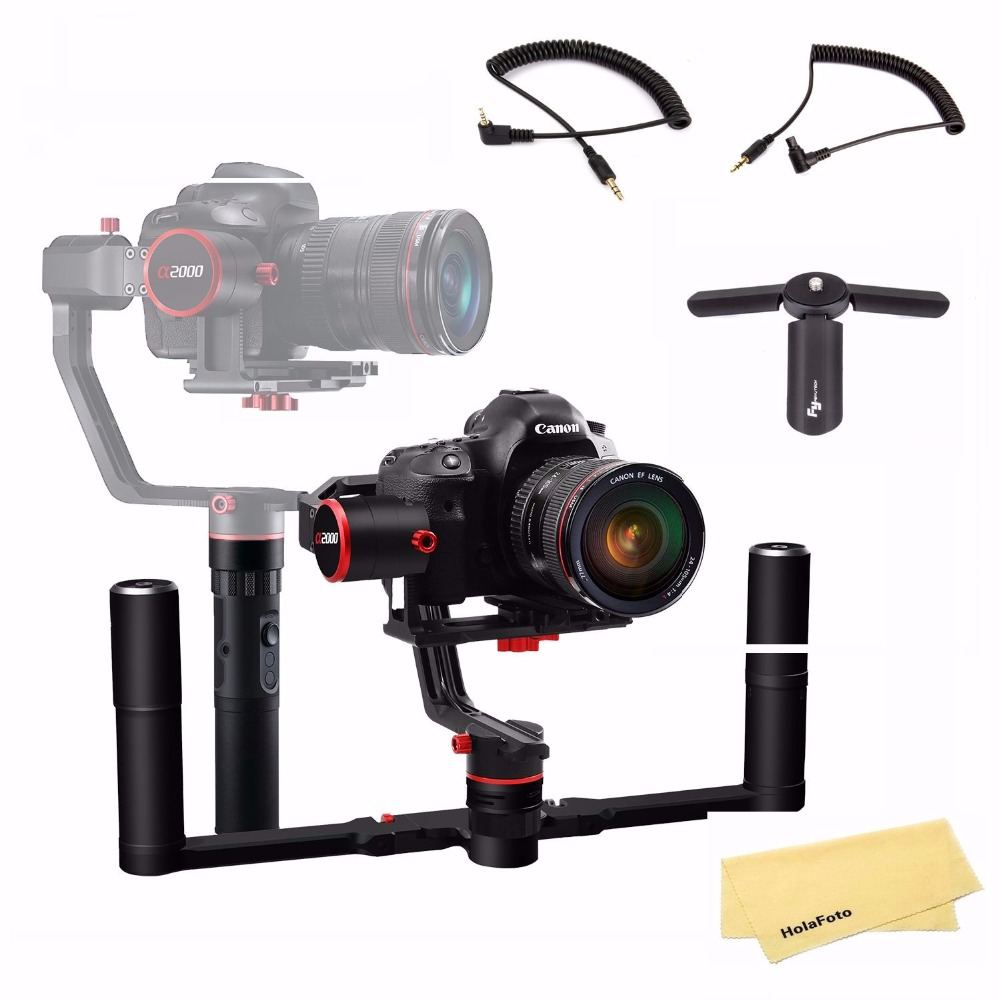 Feiyu a2000 With Dual Handle Grip 3-Axis Gimbal Stabilizer For Canon 5D IV III Sony Dslr Cameras Smartphone feiyu a2000 3 axis gimbal steadicam dslr camera dual handheld stabilizer for grip voor canon 5d sony panasonic 2000g