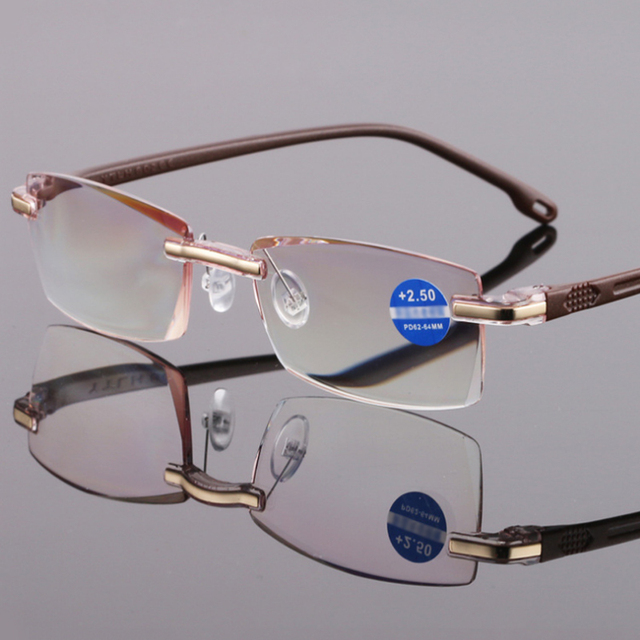 New Frameless Reading glasses Women Men Cut Edge Anti Blue Light Resin film Ladiex Male Presbyopic TR90 R207
