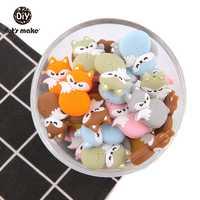 Letmake s fazer silicone raposa mordedor grânulos 5 pc dormir bebê criança dentição brinquedos frisado para berço móvel silicone mordedor do bebê