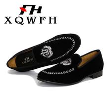 Men Velvet Loafers Casual Big Size Slip-on Shoes Promotion  Europe Style Embroidered Black Slippers Driving Moccasins