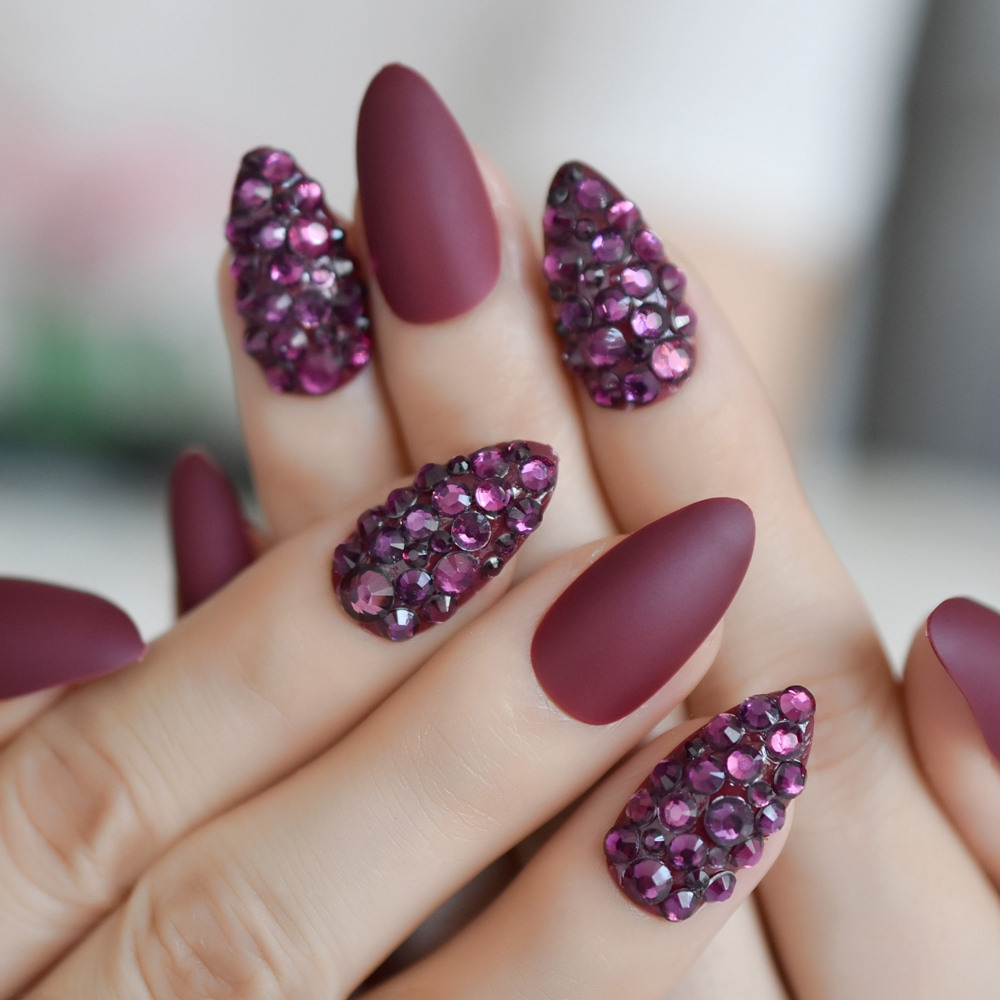 3d almond stiletto matte false