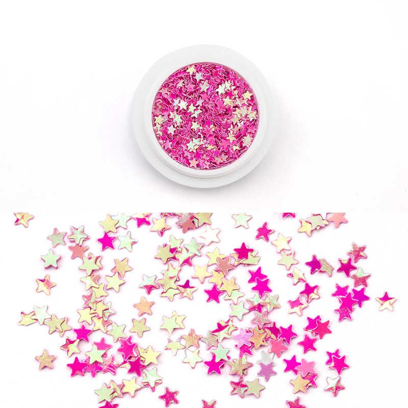 1 Kotak Kuku Seni Dekorasi Neon Payet Dot Bintang Jantung Bentuk DIY Pesona 3D Kuku Glitter Dekorasi Aksesoris