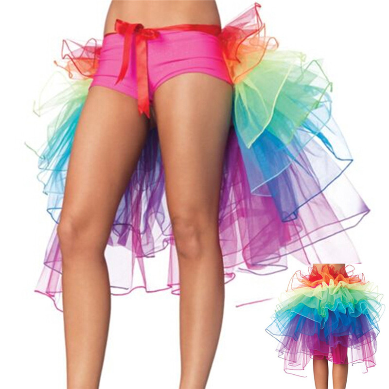Adult Tulle Skirt Rainbow Tail Tutu Skirt Girls Cake Party Dance Ballet Skirt Women Gauze skirt