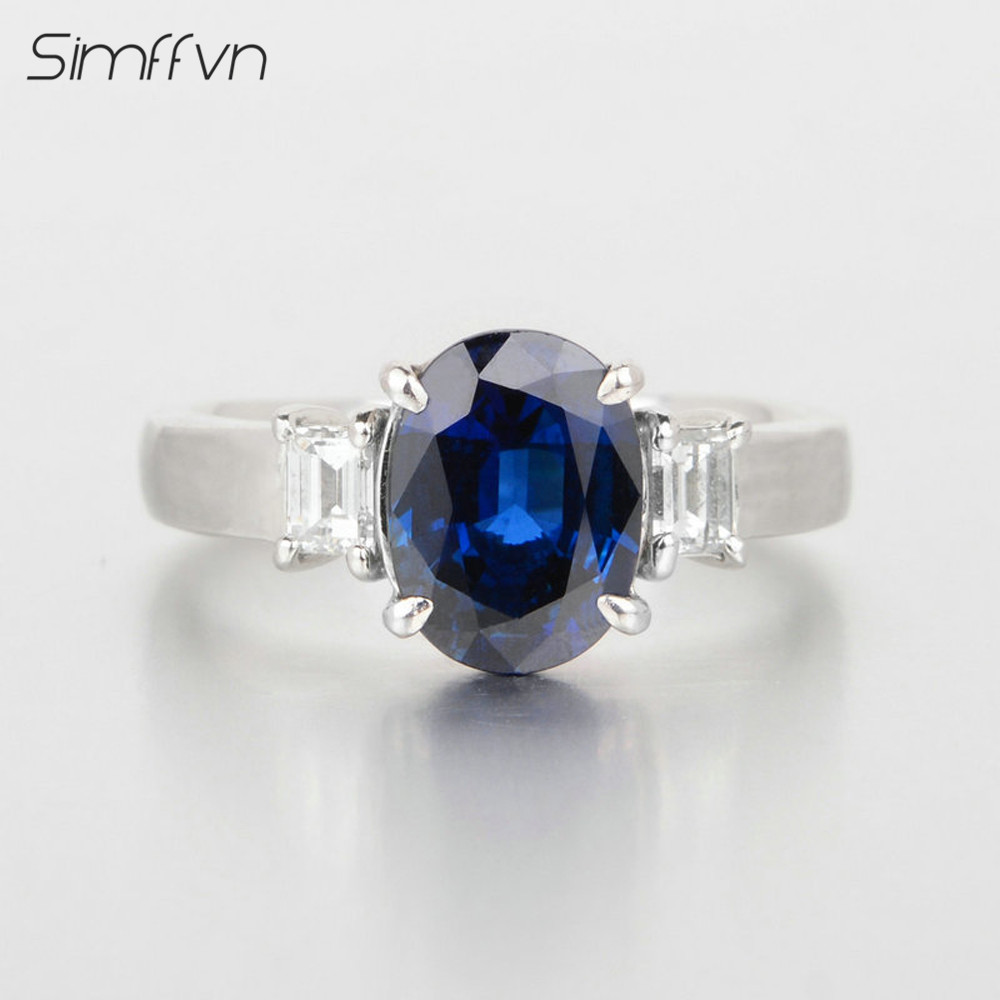 Oval Cut 2248ct Sapphire Ring Natural Diamond Band Stamped By 18k White  Gold Classic Pattern