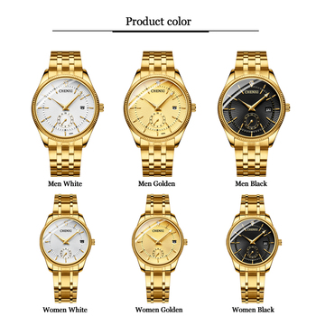 CHENXI Gold Wrist Watch Men Watches Lady Top Brand Luxury Quartz Wristwatch For Lover's Fashion Dress Clock Relogio Masculino 1