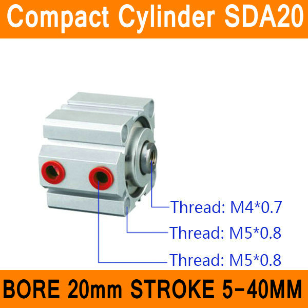 SDA20 Cylinder SDA Series Bore 20mm Stroke 5-40mm Compact Air Cylinders Dual Action Air Pneumatic Cylinder Top Grade cxsm10 10 cxsm10 20 cxsm10 25 smc dual rod cylinder basic type pneumatic component air tools cxsm series lots of stock