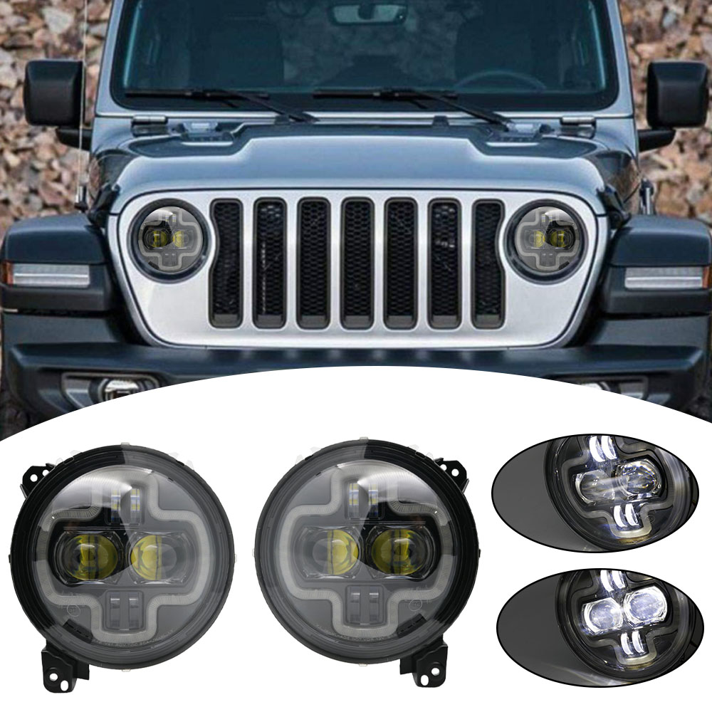 Car Lights 9inch Round LED Headlight White DRL Halo Ring Plug in Play for 2018 2019 Jeep Wrangler JL Car Headlight Assembly (4)