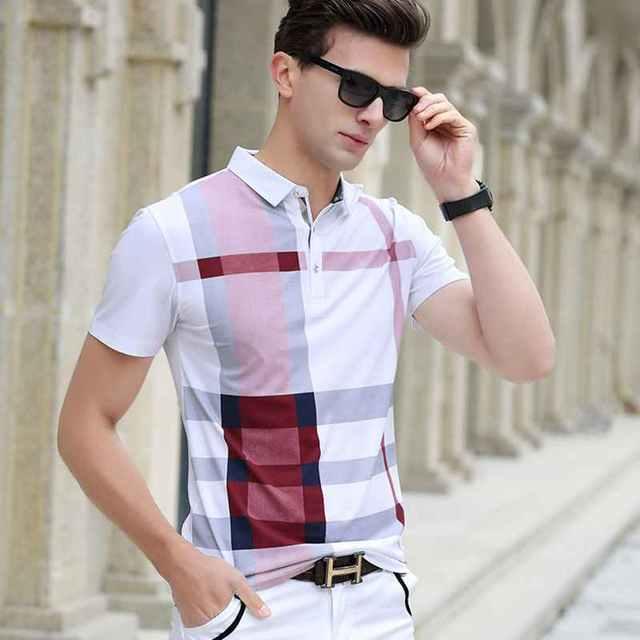 Лето 2017 г. Для мужчин рубашки поло плед короткий рукав прохладный хлопок Slim Fit Повседневное Бизнес Для мужчин s бренд классический высокого к...