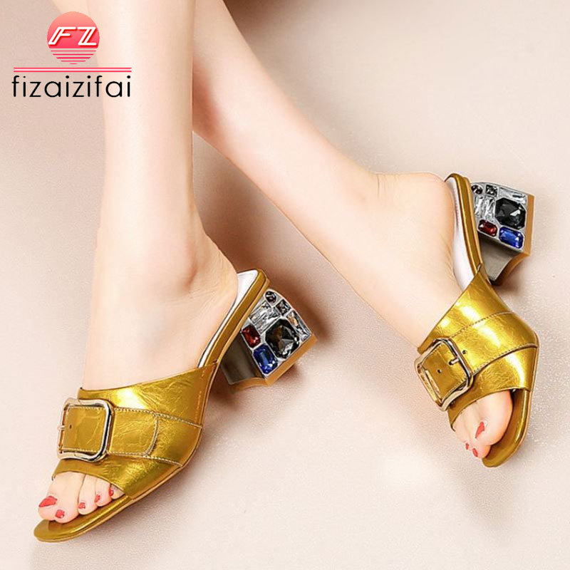 FizaiZifai Women Sandals Genuine Leather Fashion Solid Color Outdoor Slippers Stylish Buckle Crystal Shoes Women Size 34-42FizaiZifai Women Sandals Genuine Leather Fashion Solid Color Outdoor Slippers Stylish Buckle Crystal Shoes Women Size 34-42