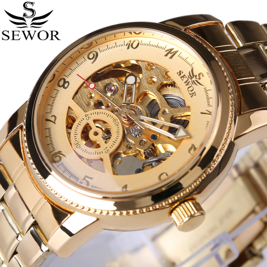 2017 New Business Mäns Gold Watch Fashion Pointer Design Top Luxury Märke Automatisk Mekanisk Skelett Steampunk Watches box