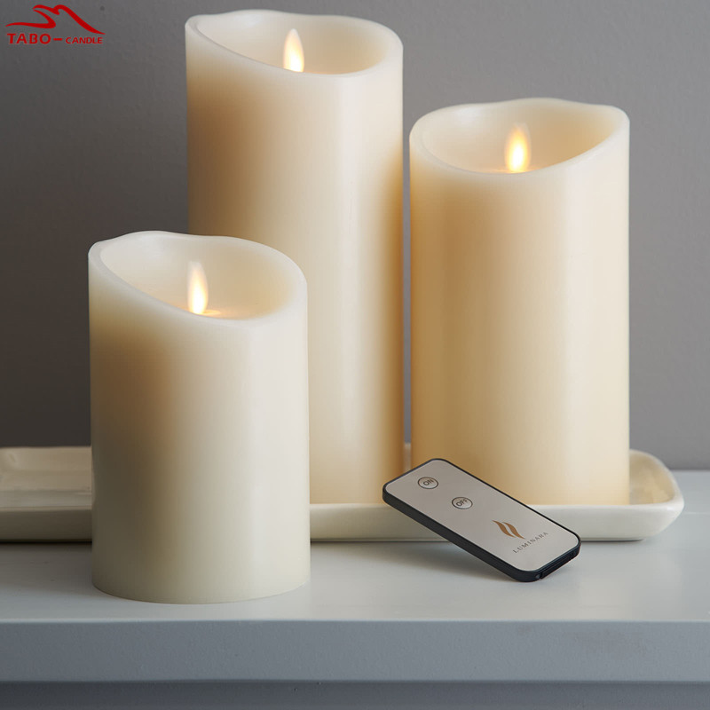 luminara flameless candles real flame effect candle pillar with timer and remote ivory 3 sizes - Flameless Candles With Timer