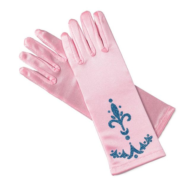 MUABABY Girl Elsa Coronation Gloves 6 colors Brocade Long Finger Gloves 24cm Sequins Printed Cosplay Clothing Girl Party Costume 4