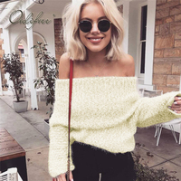 Ordifree Pull Femme 2017 Autumn Winter Knitted Sweater Off Shoulder Long Sleeve Sexy Sweater Women Jumper